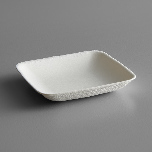 EcoChoice Biodegradable, Compostable Sugarcane / Bagasse 2 1/2 inch Square Appetizer Plate - 25/Pack