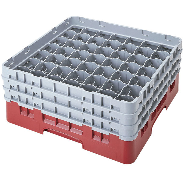 "Cambro 49S638416 Cranberry Camrack Customizable 49 Compartment 6 7/8"" Glass Rack Main Image 1"