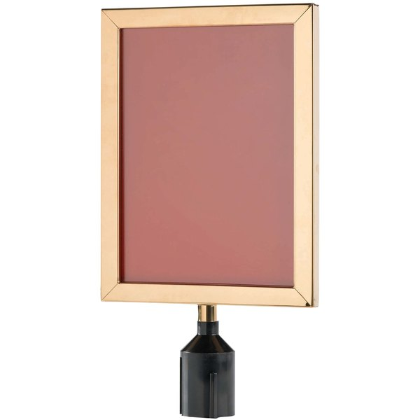 """Aarco VSF1411B 14 1/8"""" x 11 1/8"""" Brass Finish Vertical Removable Steel Stanchion Sign Frame Main Image 1"""