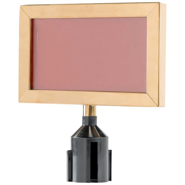 """Aarco HSF811B 8 5/8"""" x 11 1/8"""" Brass Finish Horizontal Removable Steel Stanchion Sign Frame Main Image 1"""