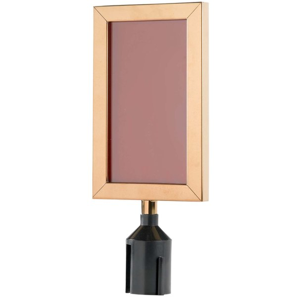 """Aarco VSF118B 11 1/8"""" x 8 5/8"""" Brass Finish Vertical Removable Steel Stanchion Sign Frame"""