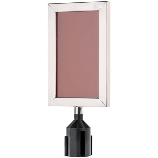 """Aarco VSF118S 11 1/8"""" x 8 5/8"""" Satin Finish Vertical Removable Steel Stanchion Sign Frame"""