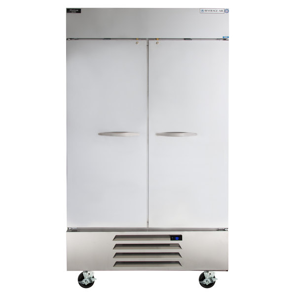 """Beverage Air HBF44-1-S 47"""" Horizon Series Two Section Solid Door Reach in Freezer with LED Lighting"""