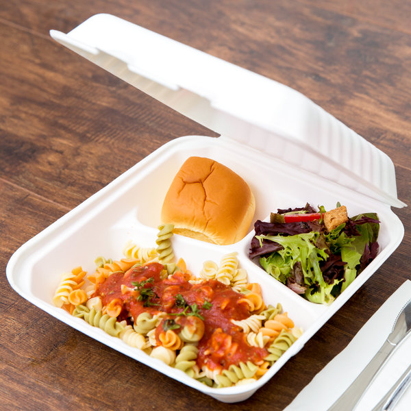 """EcoChoice 9"""" x 9"""" x 3"""" Biodegradable, Compostable Sugarcane / Bagasse 3 Compartment Takeout Container - 50/Pack"""