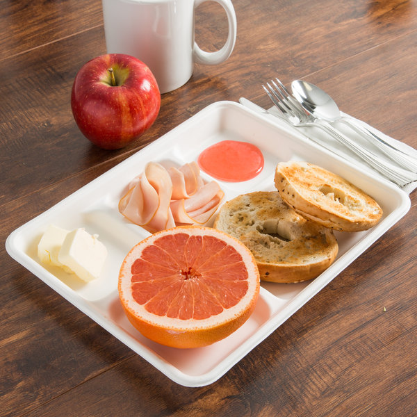 """EcoChoice 8"""" x 10"""" Biodegradable, Compostable Sugarcane / Bagasse 5 Compartment Tray - 100/Pack"""