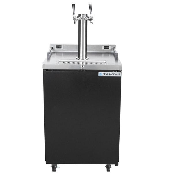 Beverage-Air DZ24-1-B Double Tap Dual Zone Kegerator Beer Dispenser - Black, (4) 1/6 Keg Capacity