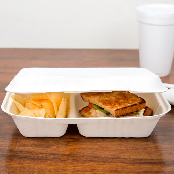 """EcoChoice 9"""" x 6"""" x 3"""" Biodegradable, Compostable Sugarcane / Bagasse 2 Compartment Takeout Container - 50/Pack"""