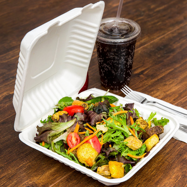 """EcoChoice 8"""" x 8"""" x 3"""" Biodegradable, Compostable Sugarcane / Bagasse 1 Compartment Takeout Box - 50/Pack"""