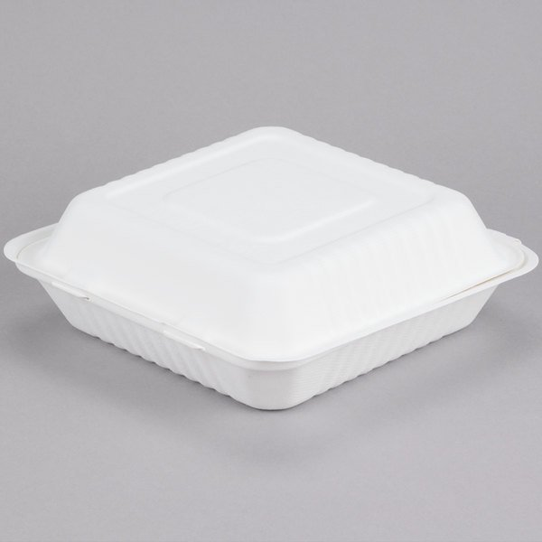 Enjoy the convenience of environmentally-friendly disposable products with this EcoChoice 9  x 9  x 3  takeout box! & EcoChoice 9