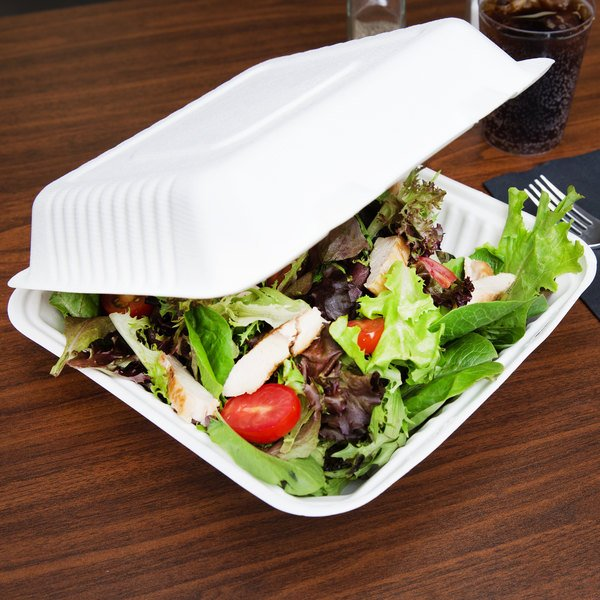 """EcoChoice 9"""" x 9"""" x 3"""" Biodegradable, Compostable Sugarcane / Bagasse 1 Compartment Takeout Box - 50/Pack"""