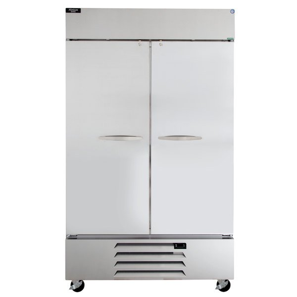 """Beverage-Air HBR44HC-1 Horizon Series 47"""" Two Section Solid Door Reach in Refrigerator with LED Lighting Main Image 1"""