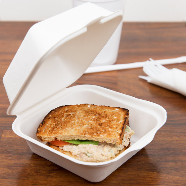 """EcoChoice Biodegradable, Compostable Sugarcane / Bagasse 6"""" x 6"""" x 3"""" Take-Out Container - 125/Pack Main Image 4"""