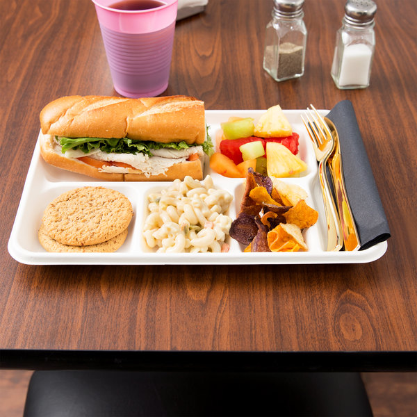 "EcoChoice 8 1/2"" x 12 1/2"" Biodegradable, Compostable Sugarcane / Bagasse 6 Compartment Tray - 100/Pack"