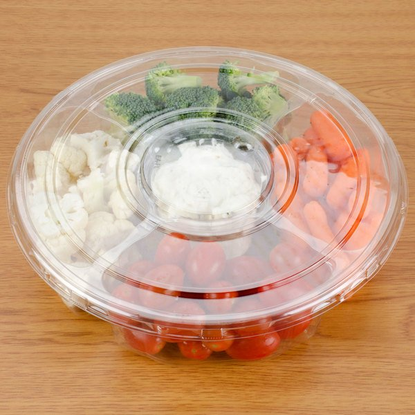 "Polar Pak 5E068A-4+1P-C 10"" Clear PET Round 5 Compartment Catering Tray with Lid - 100/Case Main Image 5"