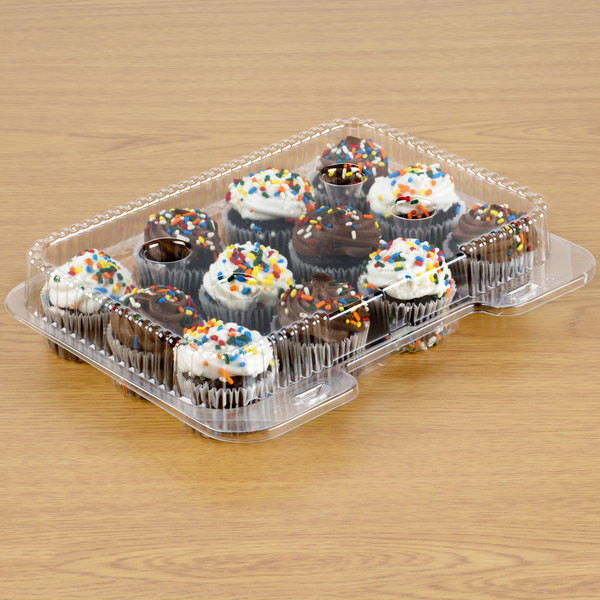 Polar Pak 02200 12 Compartment Clear OPS Hinged Cupcake / Mini Muffin Container - 500/Case Main Image 2