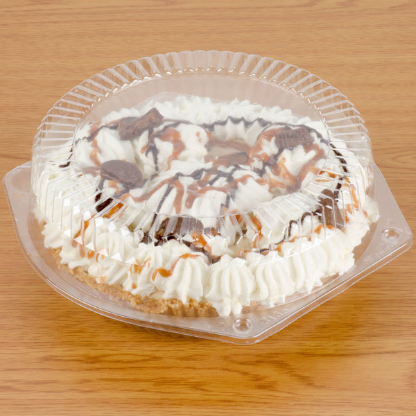 "Polar Pak 03135 8"" Clear Hinged OPS Pie Container with High Dome Lid - 200/Case"