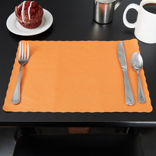 """10"""" x 14"""" Bittersweet Colored Paper Placemat with Scalloped Edge - 1000/Case"""