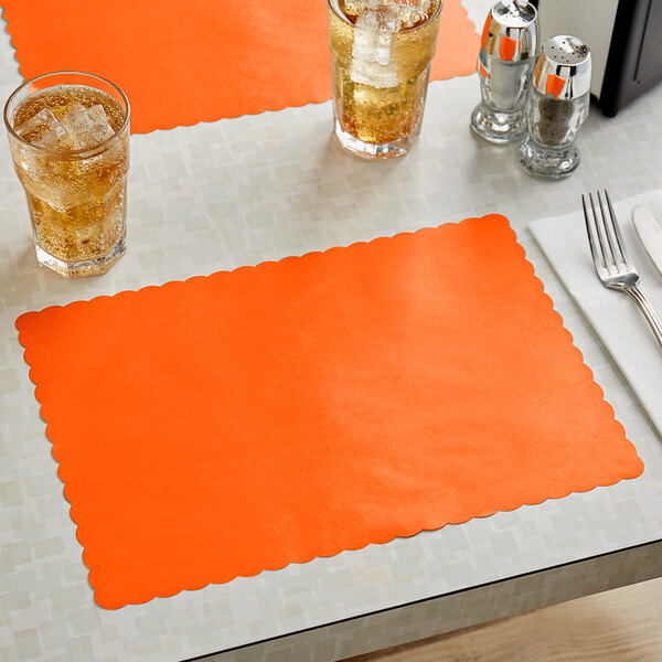 """Choice 10"""" x 14"""" Bittersweet Colored Paper Placemat with Scalloped Edge - 1000/Case Main Image 2"""