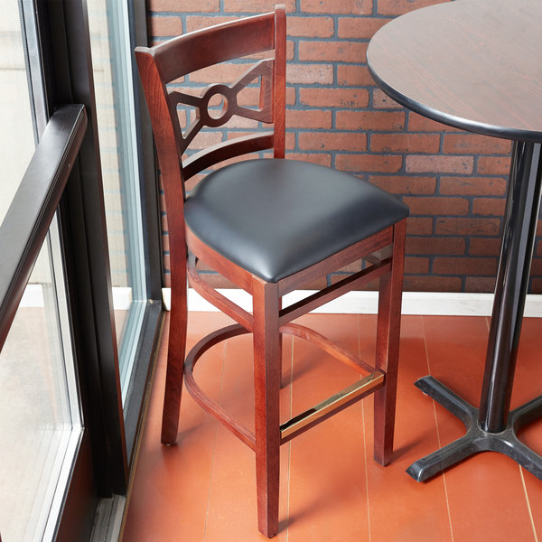 """Preassembled Lancaster Table & Seating Mahogany Bow Tie Back Bar Height Chair with 2 1/2"""" Padded Seat"""