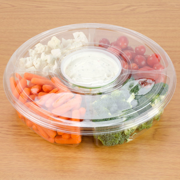"Polar Pak 5H138-4+1P-C 13"" Clear PET Round 5 Compartment Catering Tray with Lid - 50/Case"