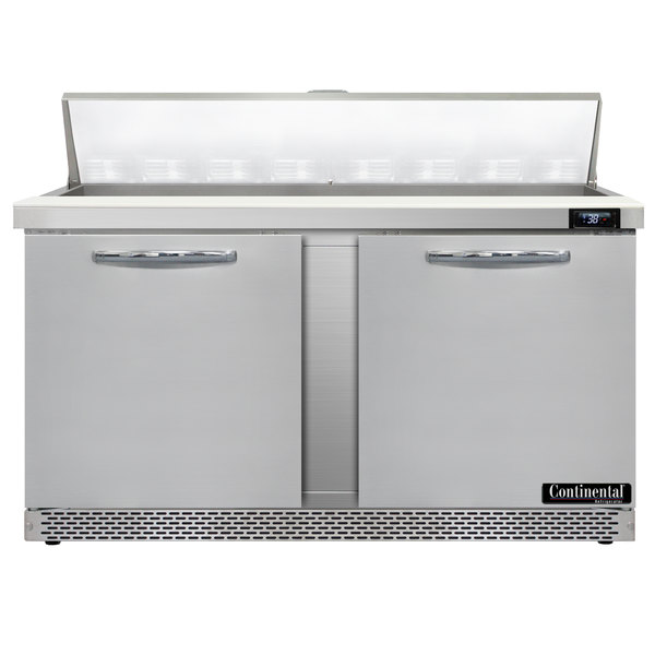 "Continental Refrigerator SW60-16-FB 60"" 2 Door Front Breathing Refrigerated Sandwich Prep Table Main Image 1"