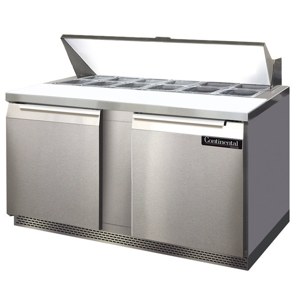"""Continental Refrigerator SW60-16-FB 60"""" 2 Door Front Breathing Refrigerated Sandwich Prep Table"""