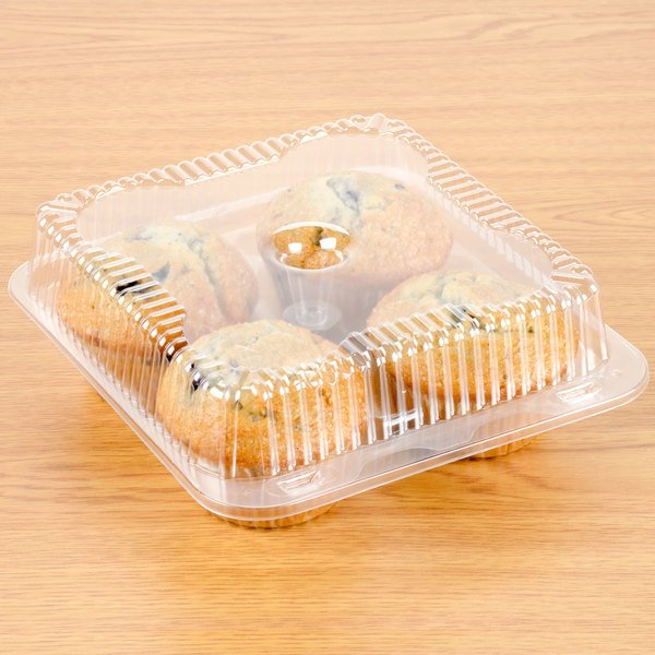 Polar Pak 02086 4 Compartment Clear OPS Hinged Cupcake / Muffin Container - 10/Pack