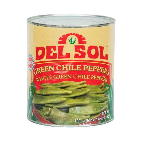 Del Sol #10 Can Whole Green Chiles - 6/Case