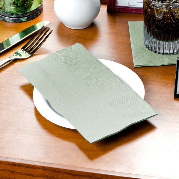 """Choice 15"""" x 17"""" Customizable Sage 2-Ply Paper Dinner Napkin - 125/Pack"""