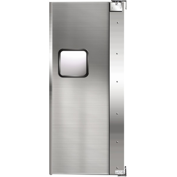 "Curtron Service-Pro Series 20 Single Aluminum Swinging Traffic Door with 9"" x 14"" Window - 36"" x 84"" Door Opening Scratch and Dent"