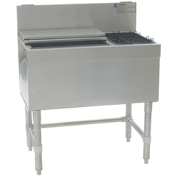 """Eagle Group BCT24R-19 Spec-Bar 19"""" x 24"""" Combination Ice Chest with Right Hand Bottle Rack"""