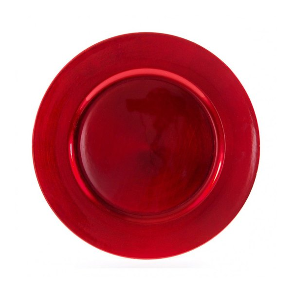 "10 Strawberry Street LARD-24 13"" Lacquer Round Red Charger Plate"