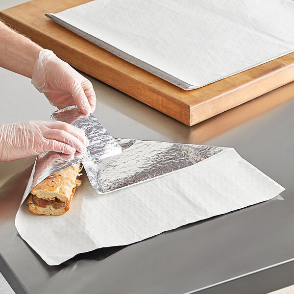 """Choice 18"""" x 18"""" Insulated Foil Sandwich Wrap Sheets - 500/Pack Main Image 2"""