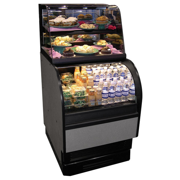 "Structural Concepts Oasis COU2757R Refrigerated Dual Service Merchandiser Case 28"" - Black 120V - 3.48 Cu. Ft."