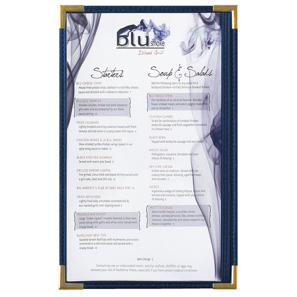 """Menu Solutions RS33D BL GLD Royal 8 1/2"""" x 14"""" Single Panel / Two View Blue Menu Board with Gold Corners"""