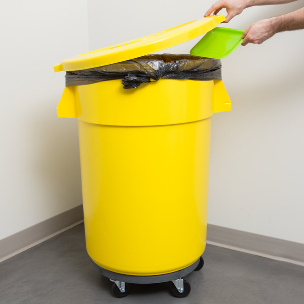 Continental 44 Gallon Yellow Trash Can, Lid, and Dolly Kit