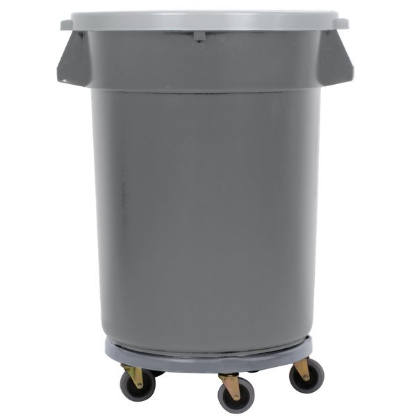 Continental 32 Gallon Gray/Black Trash Can, Lid, and Dolly Kit
