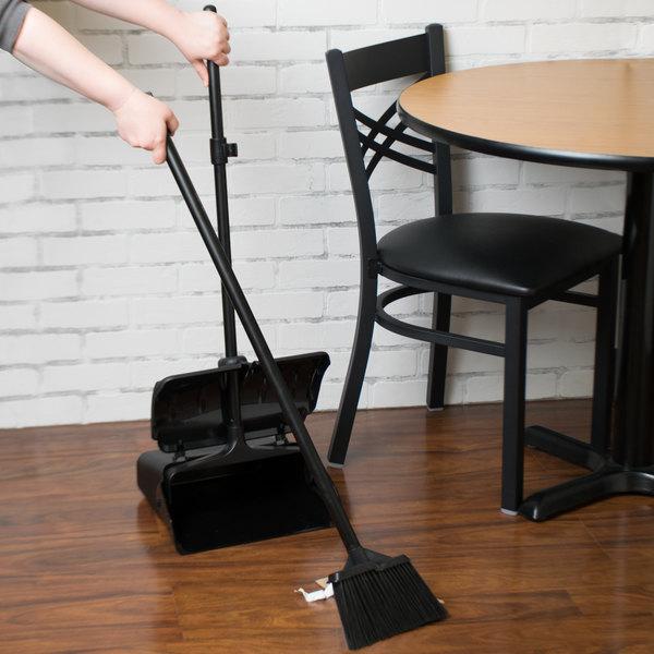 "Black Lobby Dust Pan and Bristled 7 1/2"" Angled Broom"