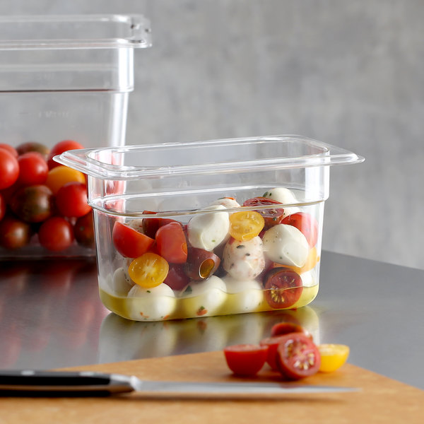"""1/9 Size Clear Polycarbonate Food Pan - 4"""" Deep Main Image 2"""