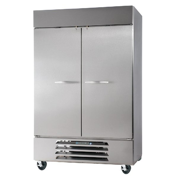 "Beverage-Air HBF49-1-HS 52"" Bottom Mount Horizon Series Two Section Half Door Reach In Freezer with LED Lighting Main Image 1"