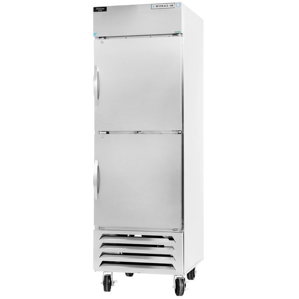 "Beverage-Air HBR23-1-HS 27"" Bottom Mount Horizon Series One Section Half Door Reach In Refrigerator with LED Lighting"
