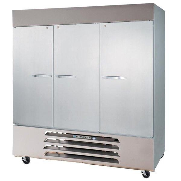 "Beverage-Air HBR72-1-HS 75"" Bottom Mount Horizon Series Three Section Half Door Reach In Refrigerator with LED Lighting"