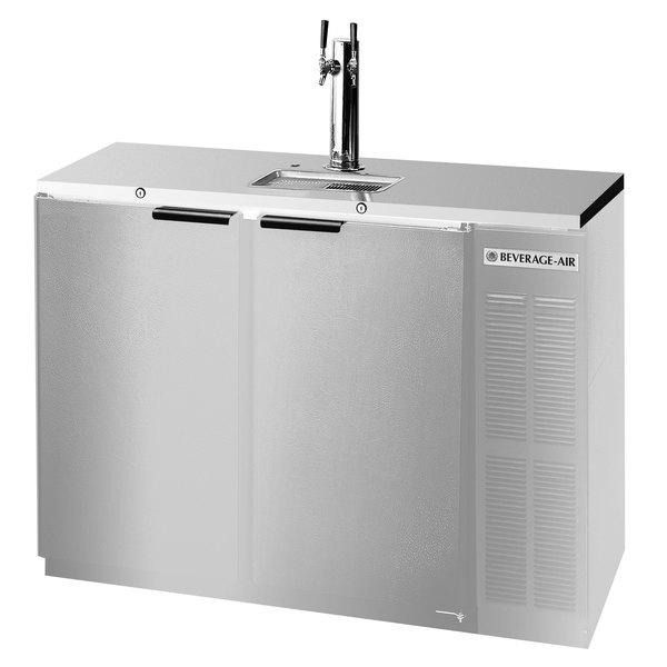 Beverage-Air DZ58-1-S-1 Double Tap Dual Zone Kegerator Beer Dispenser, 1 Keg Drawer and 1 Door - Stainless Steel, (4) 1/6 Keg Capacity