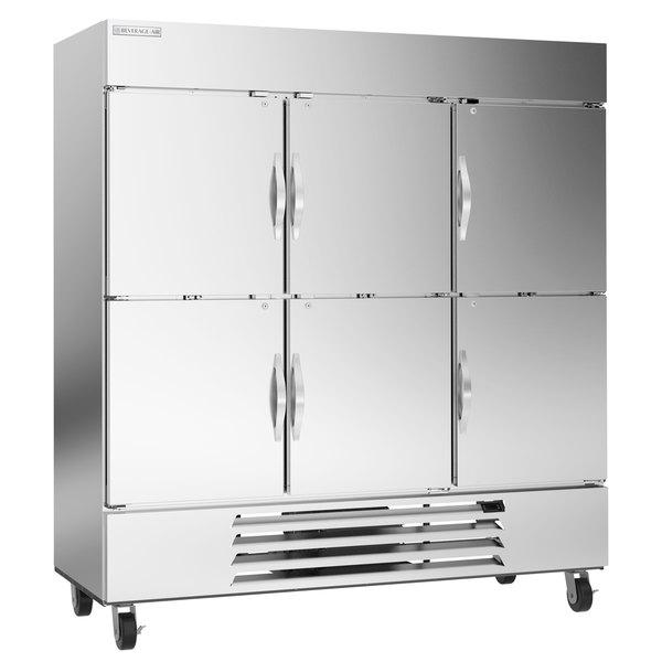 "Beverage-Air HBF72-1-HS 75"" Bottom Mount Horizon Series Three Section Half Door Reach In Freezer with LED Lighting Main Image 1"