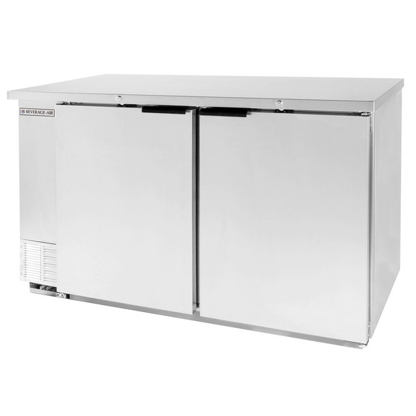 """Beverage-Air DZ58-1-S 58"""" Stainless Steel Dual Zone Back Bar Refrigerator with Two Solid Doors"""