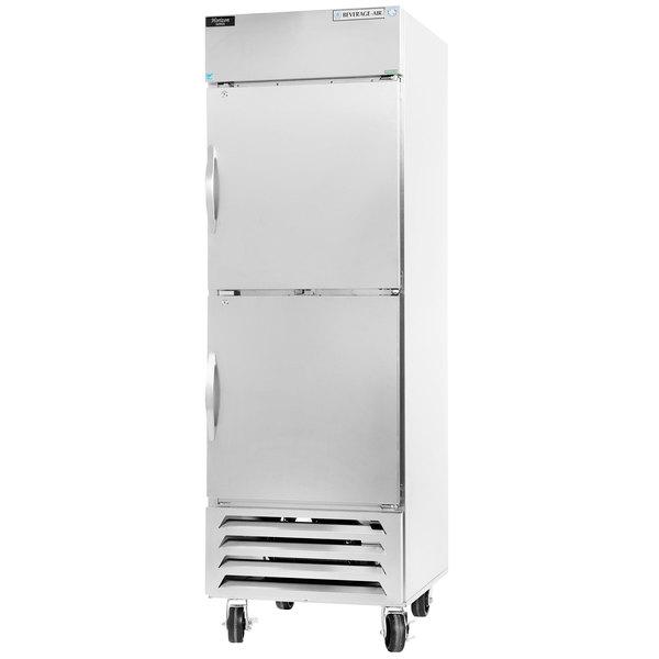 "Beverage-Air HBR27HC-1-HS 30"" Bottom Mount Horizon Series One Section Half Door Reach In Refrigerator with LED Lighting"
