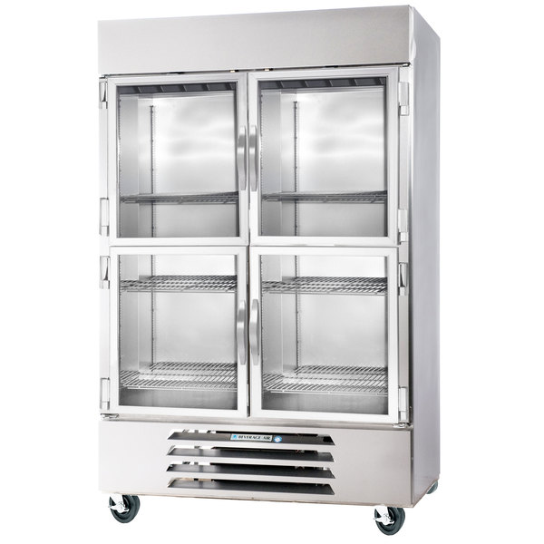 Beverage Air HBR49HC-1-HG 2 Section Glass Half Door Bottom-Mounted Reach-In Refrigerator with LED Lighting - 49 Cu. Ft.