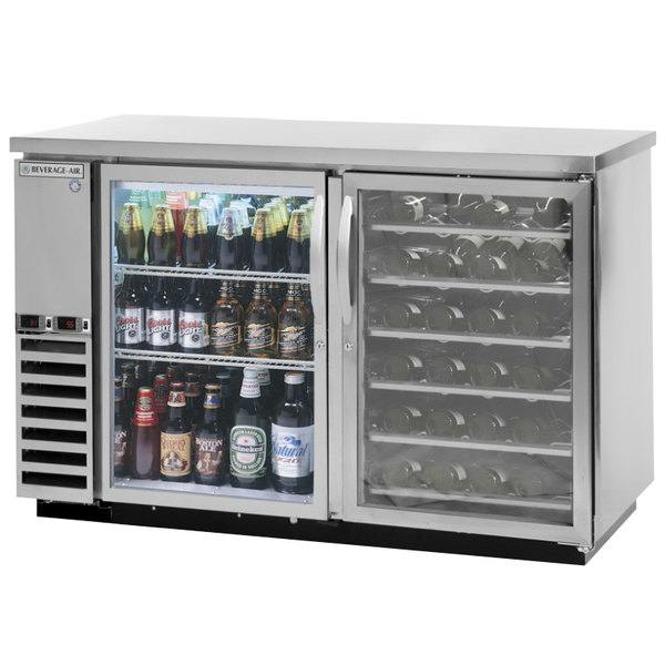 """Beverage-Air DZ58G-1-S-PWD-LED 58"""" Dual-Zone Glass Door Stainless Steel Back Bar Refrigerator with Wine Bottle Drawers - 1 Straight Keg Capacity"""