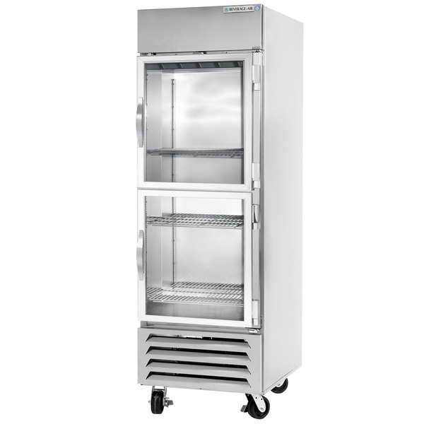 Beverage-Air HBR27HC-1-HG 1 Section Glass Half Door Bottom-Mounted Reach-In Refrigerator with LED Lighting - 27 Cu. Ft.