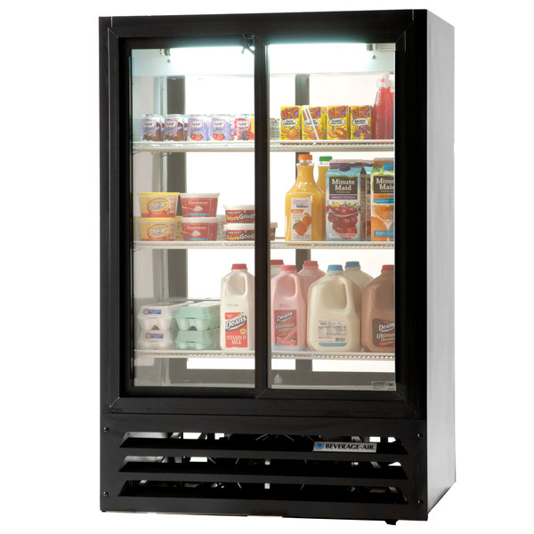 Beverage Air LV17-1-B-54-HD-LED Black LumaVue 4 Hinged Glass Door Refrigerated Pass-Through Merchandiser - 17.5 Cu. Ft.